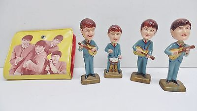 "Vintage Rock Roll Music Beatles Mini 4"" Nodder Bobbleheads + Wallet Change Purse"