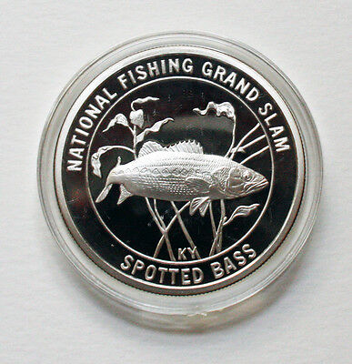 1 OZ .999 SILVER ROUND COIN NATIONAL FISHING GRAND SLAM SPOTTED BASS in CAPSULE