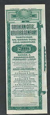 1958 Southern Cities Utilities Company Bond Specimen - Document Face Cut