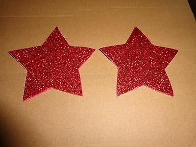 Womens Pasties/Nipple Covers Water Resistant Red Glitter Stars