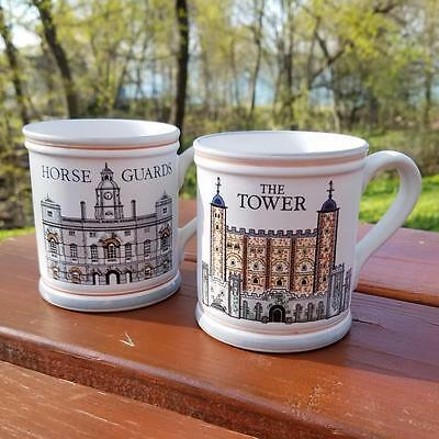 Set of (2) Denby (Horse Guards & The Tower) Fine Stoneware (Coffee) Cups (Mugs)