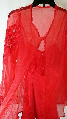 Vintage FANTASY Nylon LACE Red Nightie Gown Peignoir Robe Lingerie Set Small