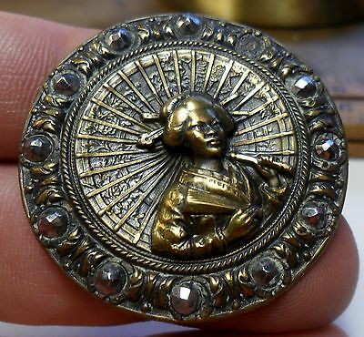 """WOW Lg. 1 3/8"""" Oriental Lady with Cut Steel Border Metal Antique Button 23:16"""