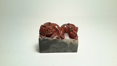 Antique Chinese carved double foo dogs soap stone seal stamp figure