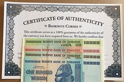 Zim 100, 50, 20, 10 Trillion Dollars Zimbabwe Set Aa 2008 Unc Uv Inspected Coa