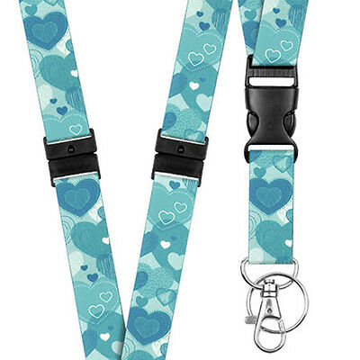Pattern Lanyard Neck/Strap - Teal Hearts - Key - Id Holder - Phone