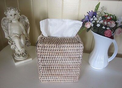 15cm HAMPTONS STYLE WHITE WASHED RATTAN WEAVE TISSUE BOX COVER HOLDER HOME BEACH