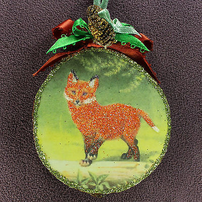 Fox Totem WOOD SLICE ORNAMENT Woodland Animal Glitter Vtg Img Symbolism Art