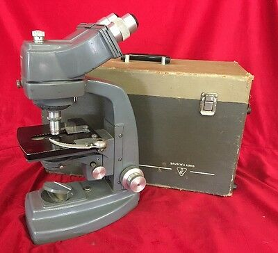 Vintage Bausch and Lomb Binocular Microscope in Gray w/ Case