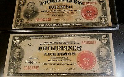 2 note Phillipines $1 + $5 Pesos Red seal good serial numbers