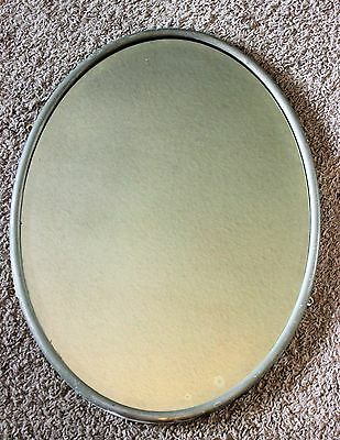 Vtg Antique HEAVY Unique Metal Frame Oval Beveled Wall Mantle Mirror 24 x 18