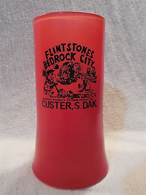 Flintstones Bedrock City Custer SD Red Glass Mug Stein Fred Wilma Barney & Betty