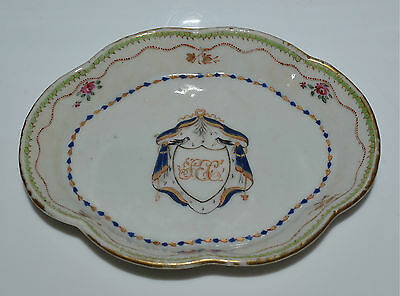 Antique 18th C Chinese Export Armorial Famille Rose Spoon Tray