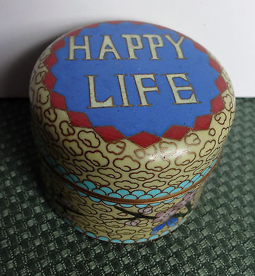 Vintage Small Chinese Cloisonne Round Lidded Trinket Box/Jar HAPPY LIFE