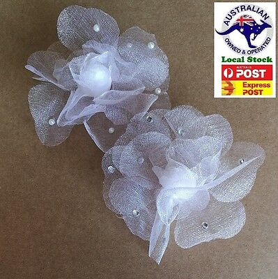 Lace ( silk) Flower with pearl or Diamante For Embellishments Or hair clip
