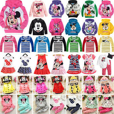 Baby Kids Girls Mickey Minnie Hooded Sweater Coat Shirt Pants Dress Outfits Set