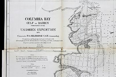 1874 Darien Expedition Canal Panama Map Gulf Darien Calumbia Bay EXRARE ORIGINAL