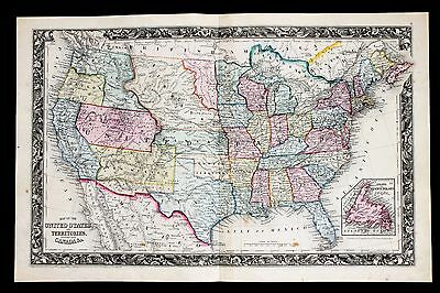 1860 United States Map Texas New Mexico Minnesota Territory Oregon ORIGINAL RARE