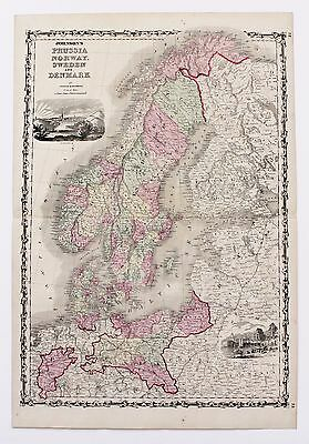 1861 Prussia Norway Sweden Denmark Map  Hand-colored Railroads Original RARE