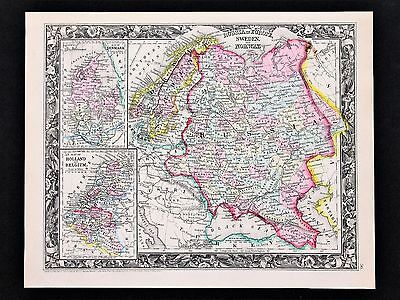 1860 RUSSSIA Map Sweden Norway Lapland Archangel Railroads RARE ORIGINAL
