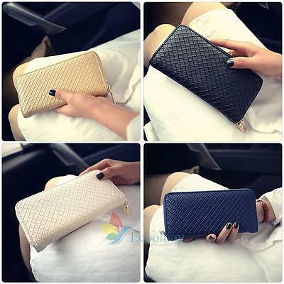 Fashion Women Ladies PU Leather Zipper Wallet Long Card Holder Purse Handbag