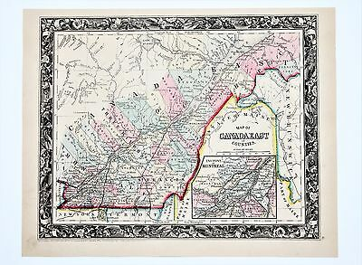 1860 Environs Montreal Quebec Canada Map Railroads Counties Townships ORIGINAL