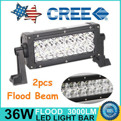2X 8inch 36W CREE LED Work Light Bar Flood Beam Driving 4WD Offroad Truck Jeep