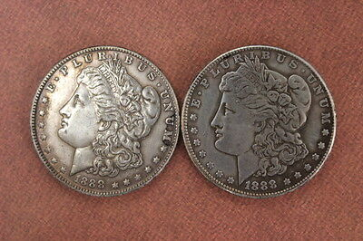2pcs Antique Chinese international early COINS 1888 years silver COINS#0030