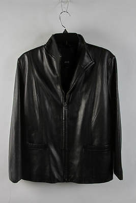 JLC New York Black Leather Zip-Up Shirt Collar Jacket Size L