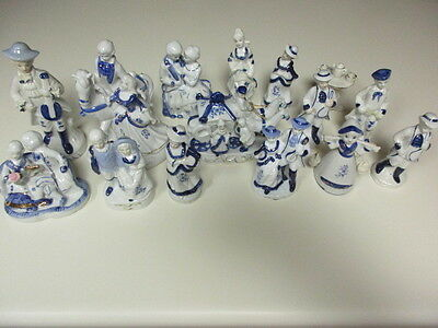 Huge Lot of (15) Vintage Victorian Figurines White and Blue with Gold Trim