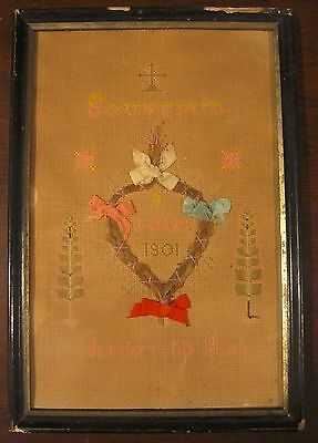 Antique Victorian Mourning Child's Needlepoint Sampler w/ Human Hair - French