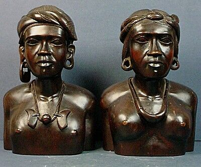 Pair Vintage Filipino Hand Carved Wood Igorot Man & Woman Bust Sculptures