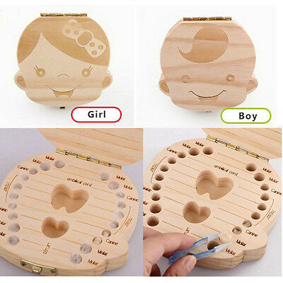 Kids Boy&Girl Tooth Box organizer for baby Save Milk teeth Wood Storage Box HT