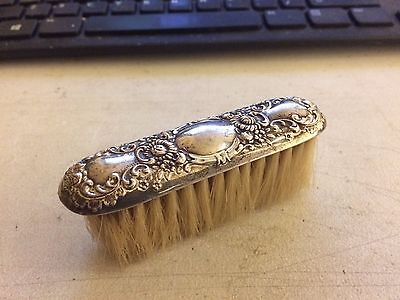 Victorian Sterling Silver Repousse Vanity Brush Florals & Scrolls