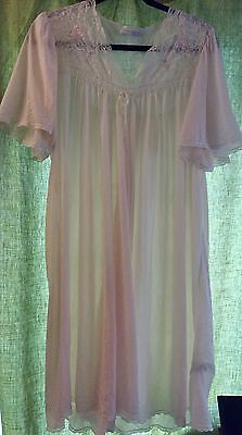 60s Vtg MISS ELAINE Blush PINK Silky SOFT Sheer Nylon Nightgown Negligee Gown Lg