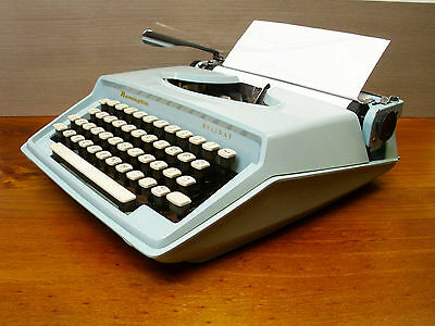 Vintage Baby Blue Remington Typewriter Holiday with Case 70's -Holland - Working