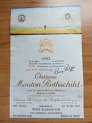 WINE LABEL/etiquette vin-  CHATEAU MOUTON ROTHSCHILD 1983 EXPORT -  RARE