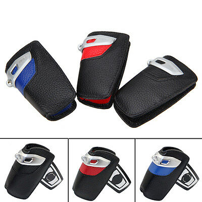 Genuine Leather Key Fob Holder Bag Cover Case for BMW 1-7 Series X3 F30 F35