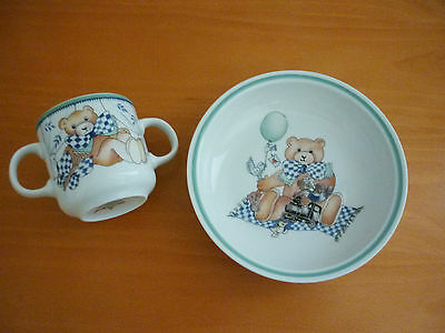 Villeroy & Boch Teddy Bear Kiddy Set Switch Collection - Two Handled Cup & Bowl