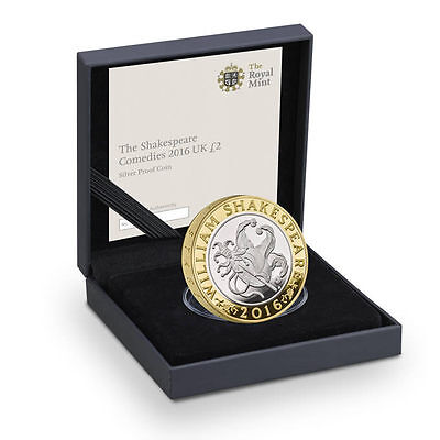 The Shakespeare Comedies 2016 UK £2 Silver Proof Two Pound Coin