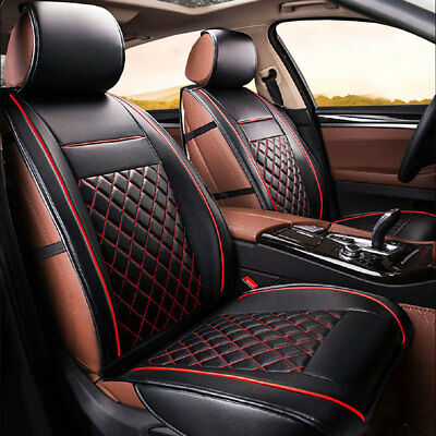 2Pcs 3D Front Seat Cushion Covers PU Leather Pad Black&Red For Universal Car