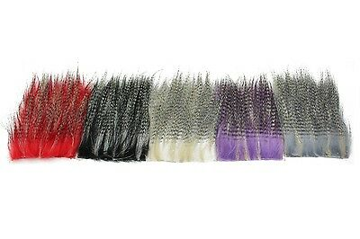 5pcs 8*8cm Furabou Craft Fur Barred Colors Streamer Tail Wing Fly Tying Material