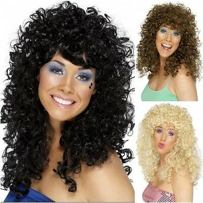 Long Curly Permed Wig 70s 80s Disco Diva Dolly Cher Womens Ladies Fancy Dress