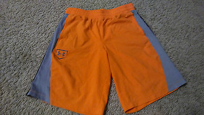 Boys Under Armour Athletic Shorts Size L Loose Fit Orange Gray Black Baseball