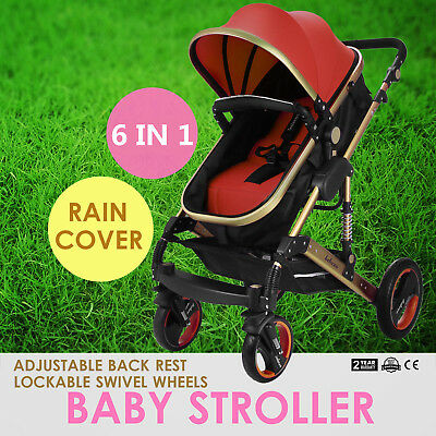 Baby Stroller 3In1 Foldable Pram Pushchair With Bassinet Telescopic Pole PRO