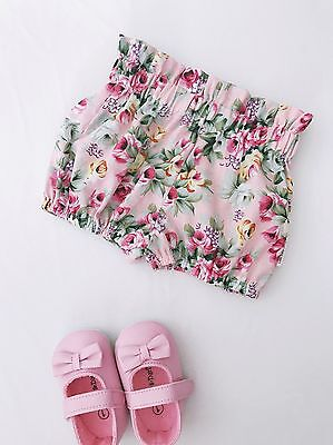 Handmade Pink Flora Baby Girl High Waist Bubble Shorts