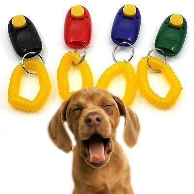 Cute Dog Pet Puppy Cat Training Clicker Obedience Aid Wrist Click Button Trainer
