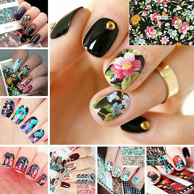 Nail Art Sticker Water Transfer Stickers Rose Flower Decals Tips 3D Decoration
