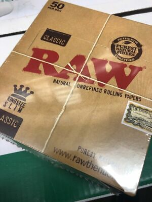 Full Box of 50 RAW Cigarette Rolling Paper Classic Kingsize Slim Free P&P £15.99