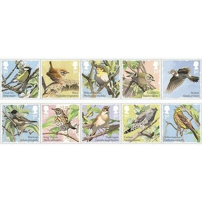 Songbirds Stamp Set 2017 - AS2596 - Great Britain Royal Stamps UK